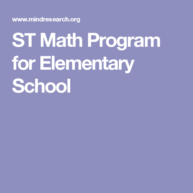 ST Math Program for Elementary School