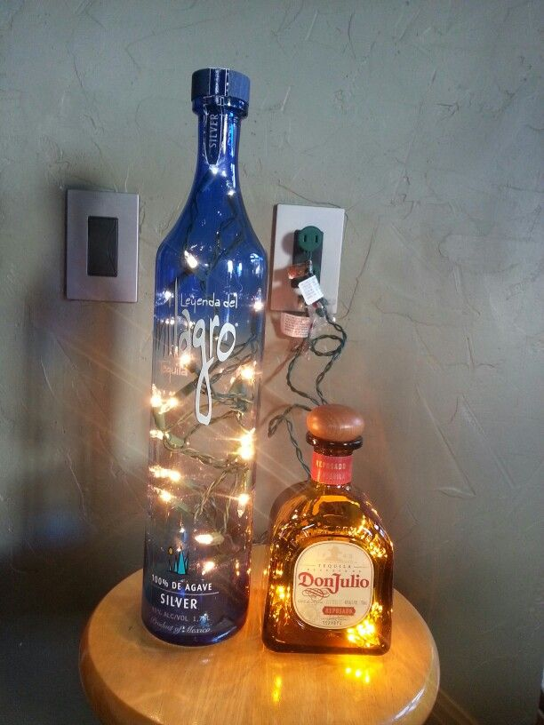 Tequila bottles with lights.