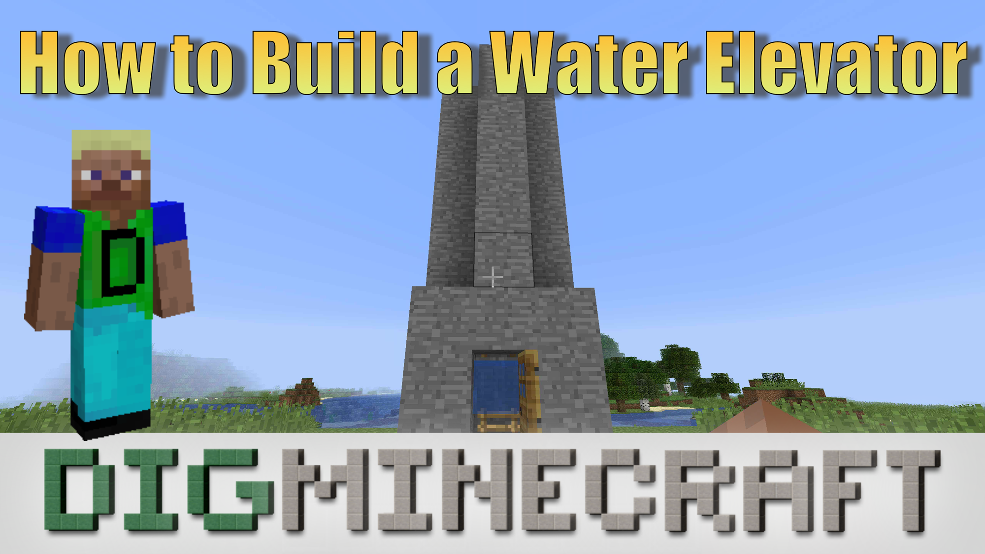 Learn How To Build A Water Elevator In Minecraft With These Very Easy Steps In This Youtube Video Building Youtube Videos Cn Tower