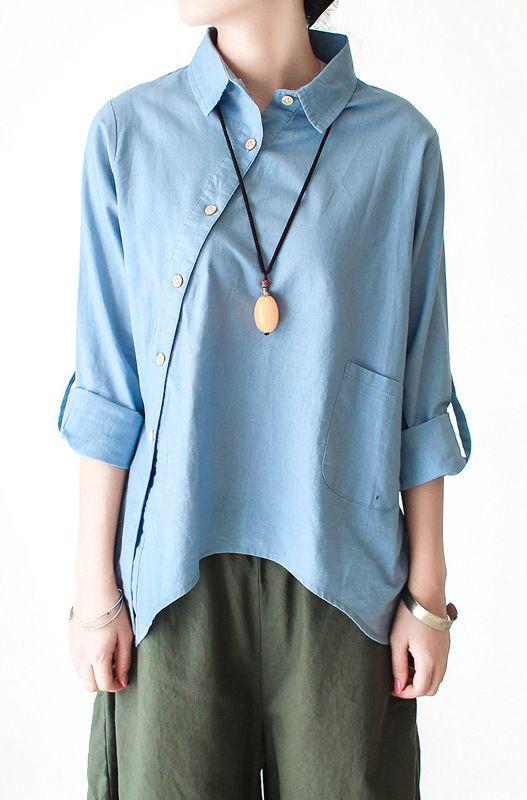 7a63da2e658 Light blue cotton shirt linen blouse women asymmetrical buttons top ...