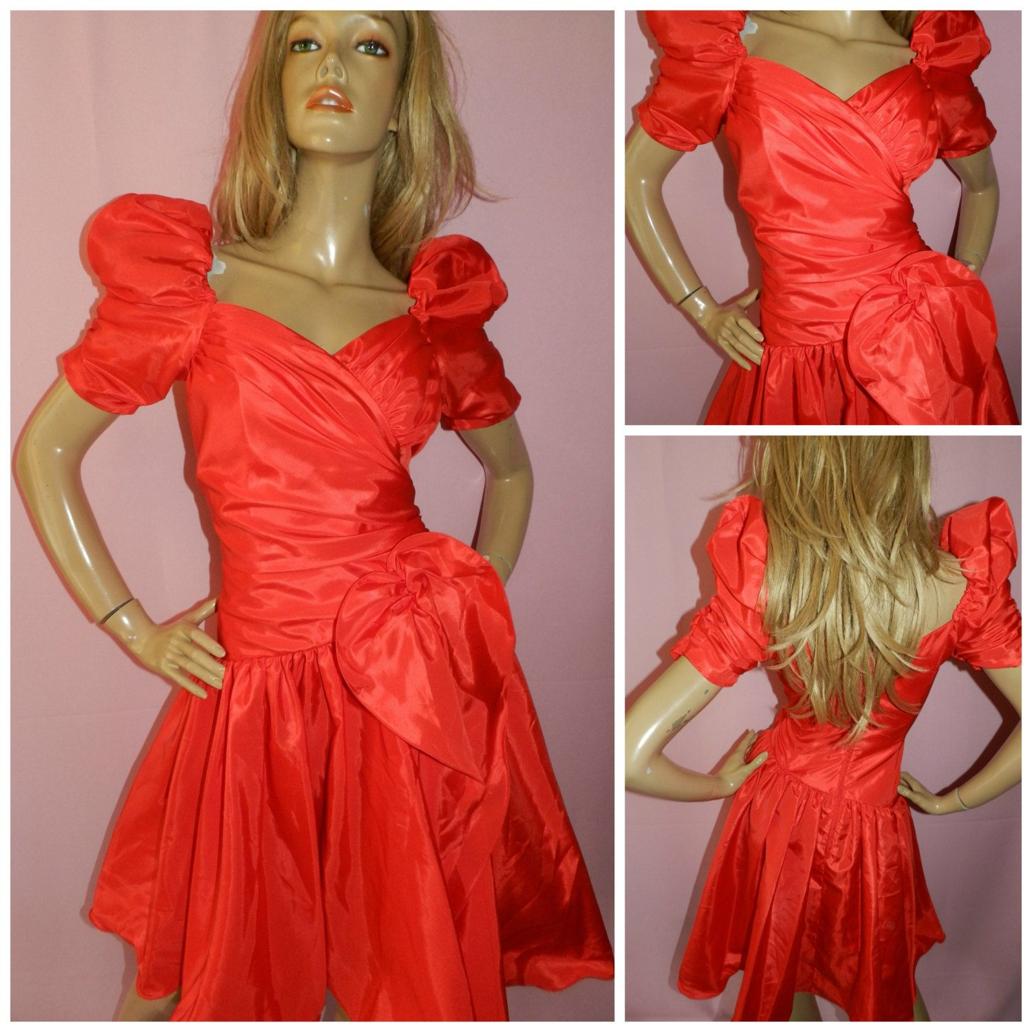 Vintage s lipstick red avant garde prom party dress s s