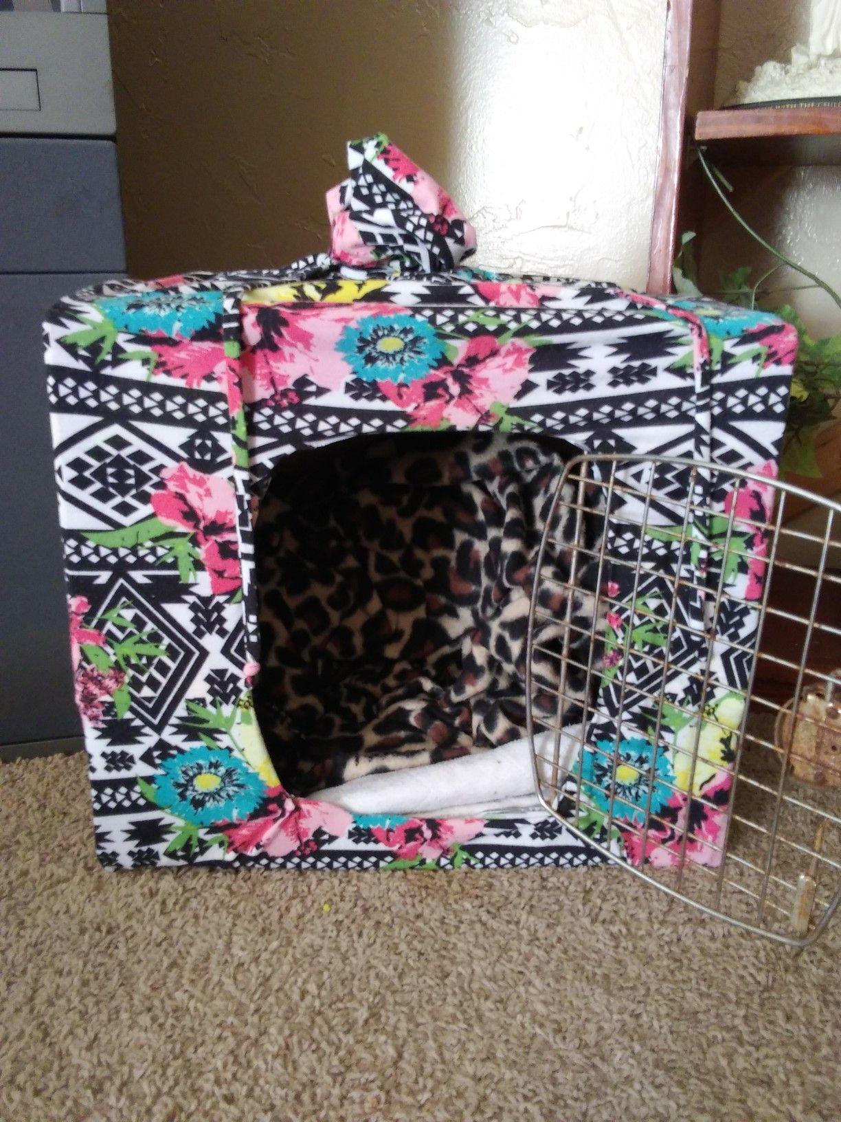 My temp dog crate. Materials Cardboard box An old dress