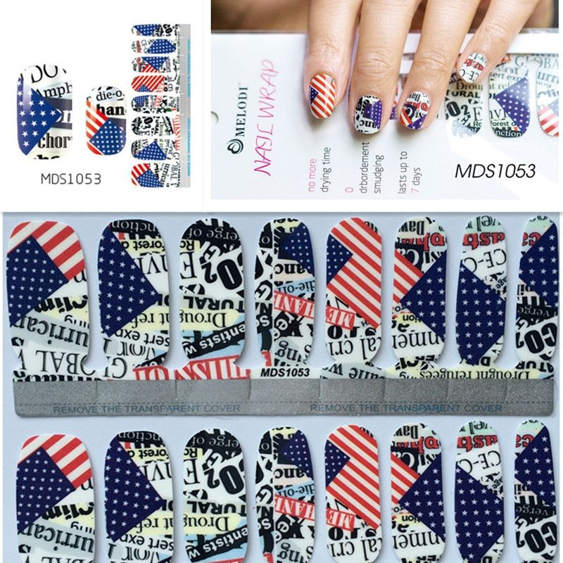 Independence Day American USA Flag Nail Wraps DIY Tips Decals Full ...