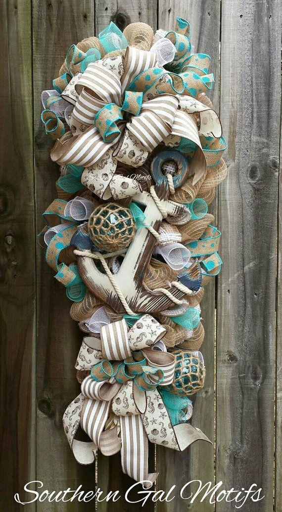 Pin By Connie Huckabay On Wreaths Coastal Wreath Deco