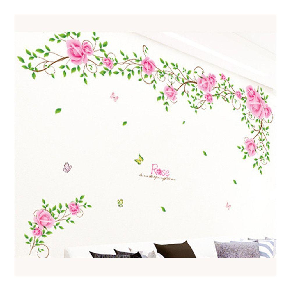 PVC Waterproof Wallpaper Wall Sticker Rose Flower