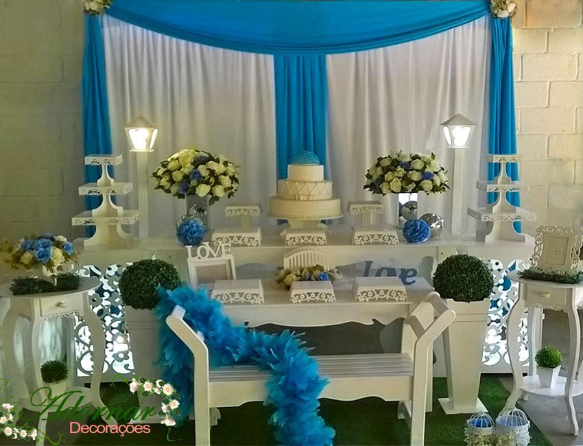 412efff500 Aluguel Decoração Para Festa de 15 Anos Azul e Branco | mesas de ...