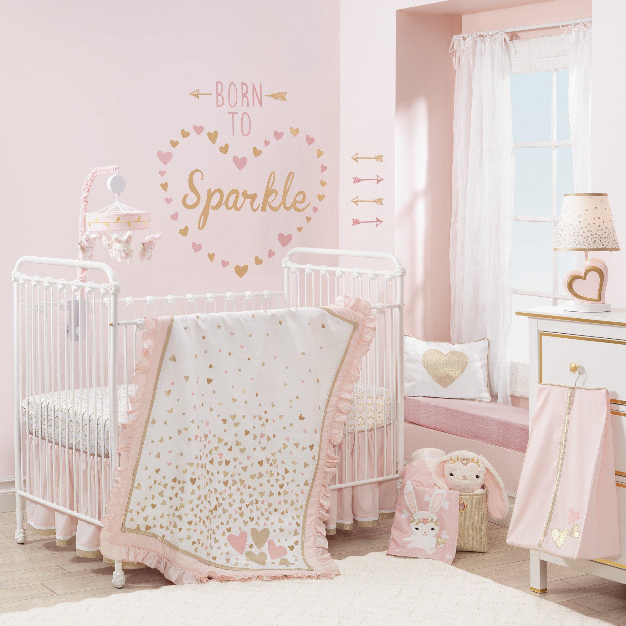 Pink Metallic Gold Heart Nursery Lamp With Shade Bulb Crib
