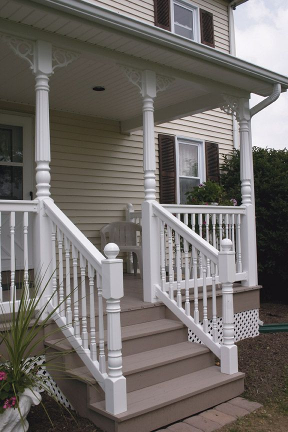Vinyl Railing And Porch Post Pictures Hoover Fence Company Farmhouse Front Porches Porch Design Porch Pillars