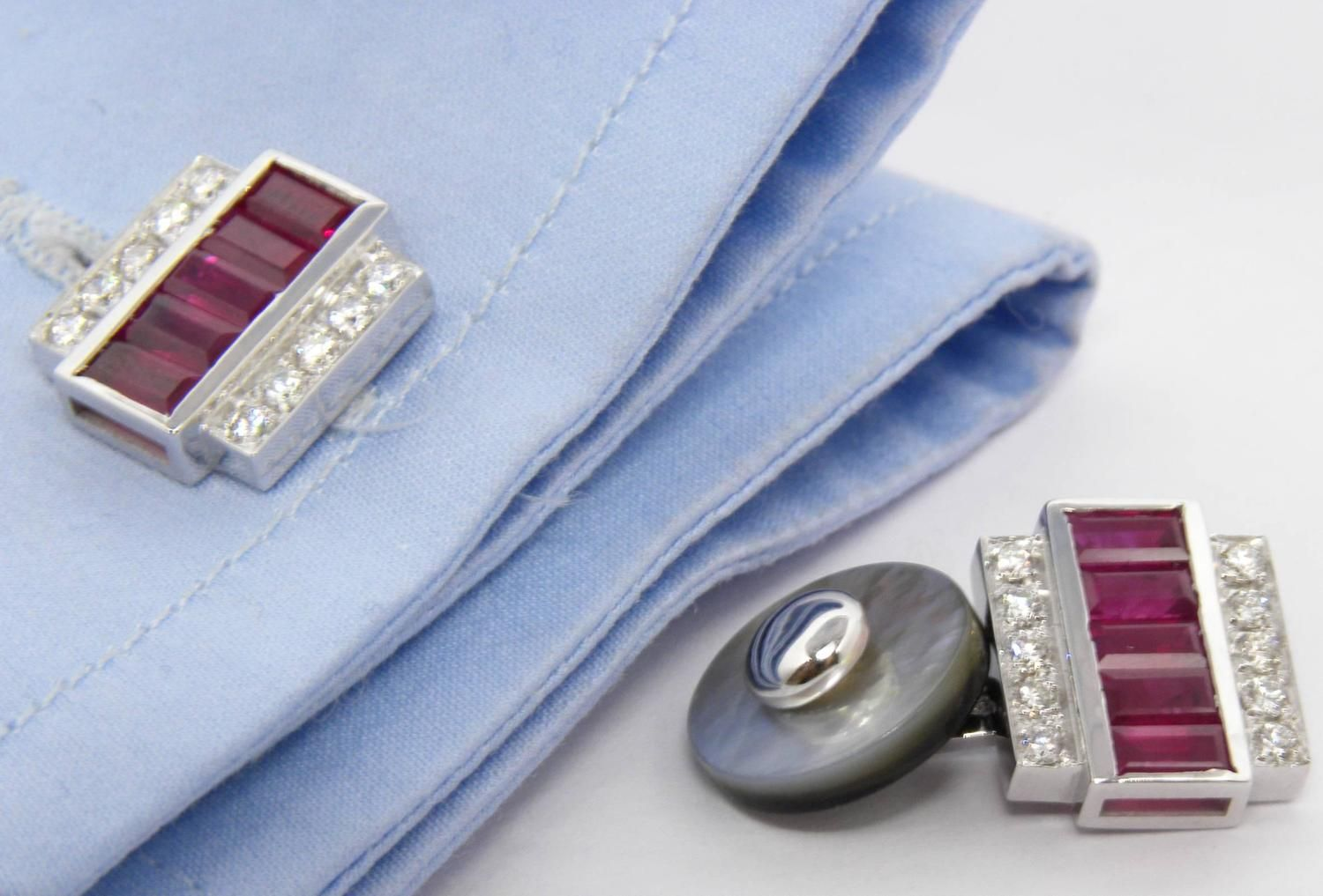 3.46 Carat Natural Ruby Baguette White Diamond Mother-of-Pearl Back Cufflinks