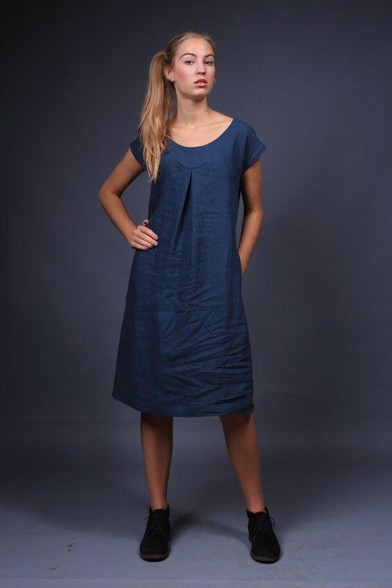 Linen dress, natural linen clothing, plus size linen dress, dress ...