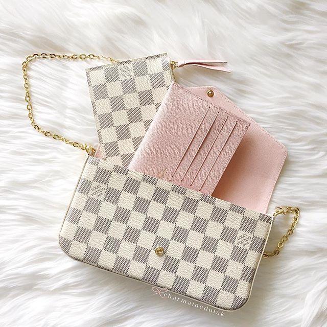 1046064d945d Louis Vuitton Felicie Pochette wallet on chain in Damier Azur