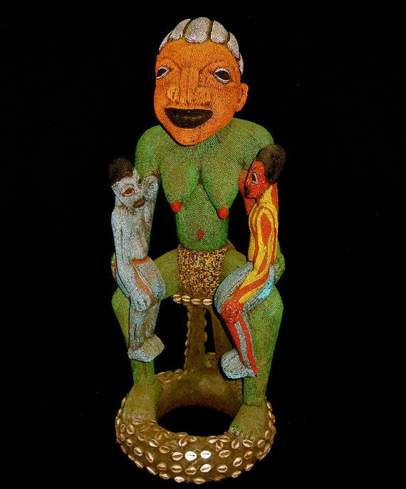 Bamun Or Bamileke Beaded Large Fertility Statue Cameroon