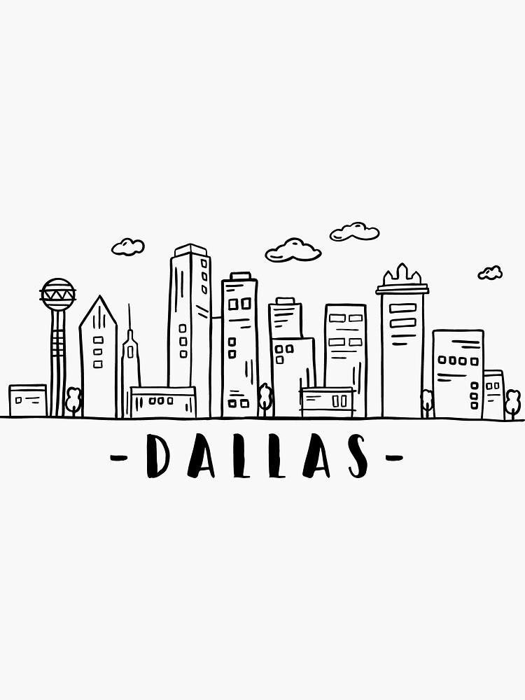 Dallas Texas Skyline Cityscape Travel Sticker By Duxdesign Dallas Texas Skyline Skyline Drawing Dallas Skyline