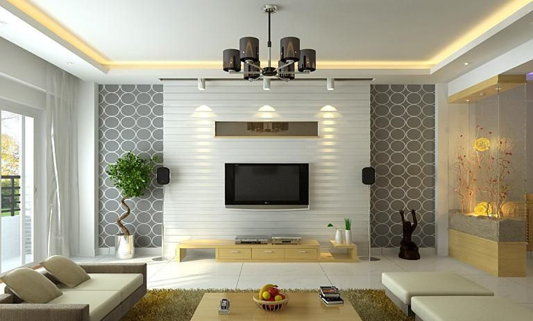 Modern ceiling with lighting for modern living room with TV ceiling trim  makes it look higher - Modern Ceiling With Lighting For Modern Living Room With TV