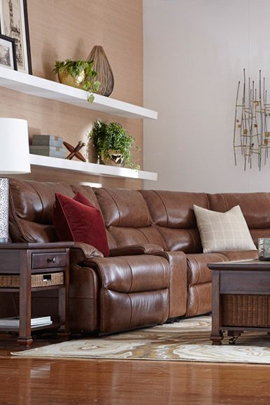 The Havertys Nevada Leather Sectional Sectional Home Living Room Havertys Sectional