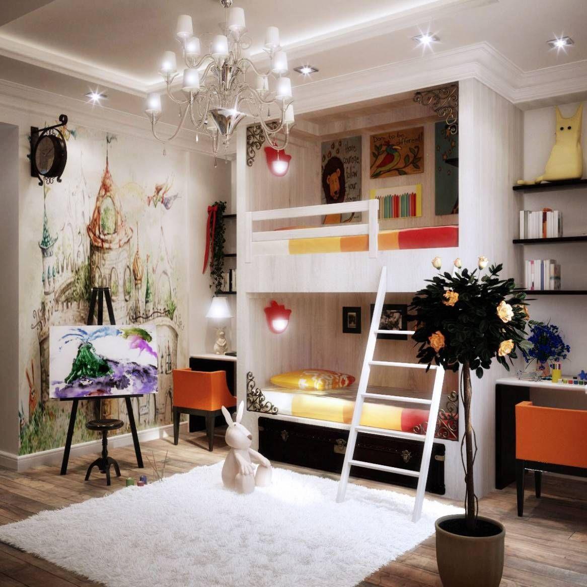 Loft bed ideas girls  Luxury White Kids Girls Room Design with Corner Loft Bed Furniture