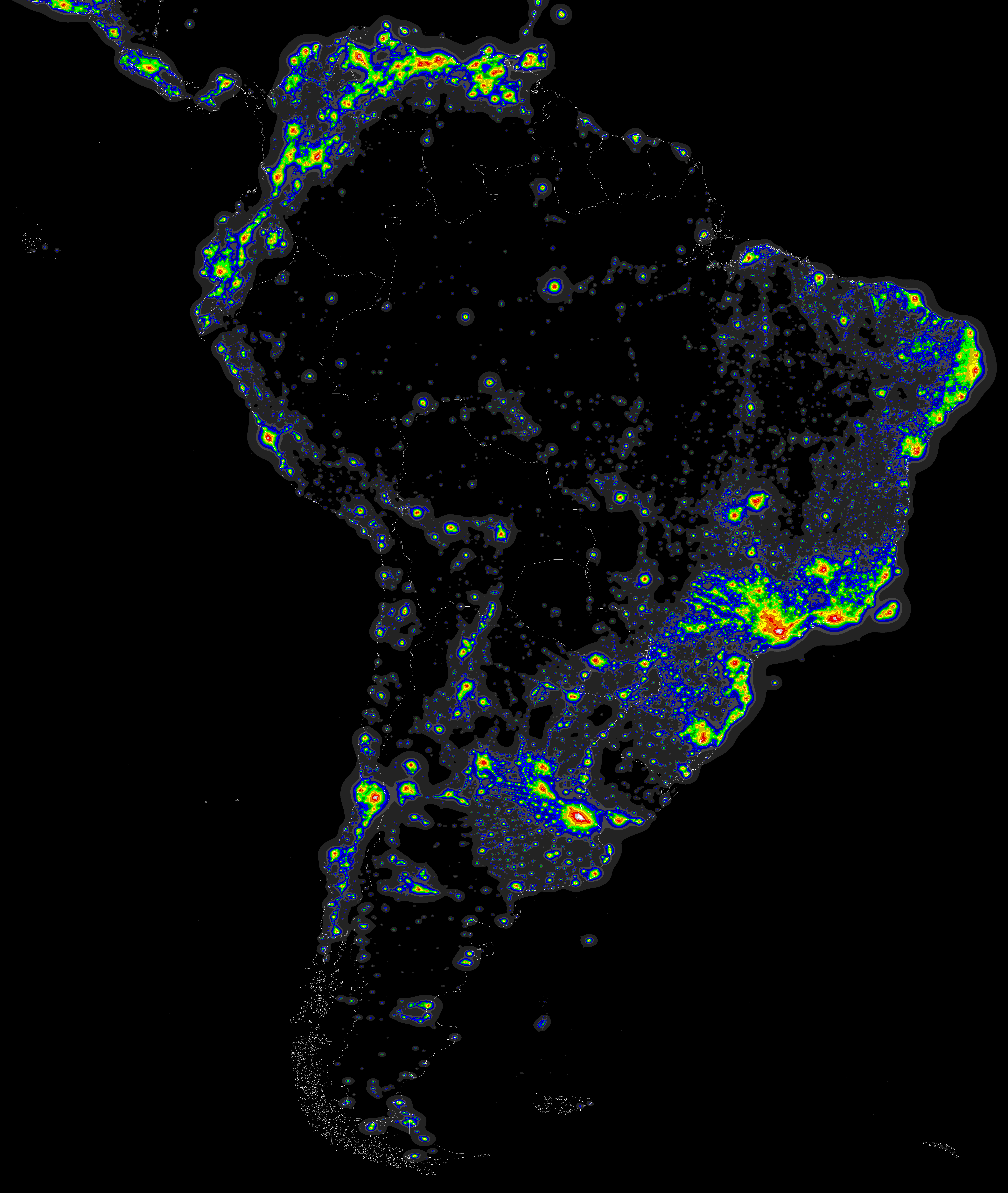 Light Pollution map of South America Light