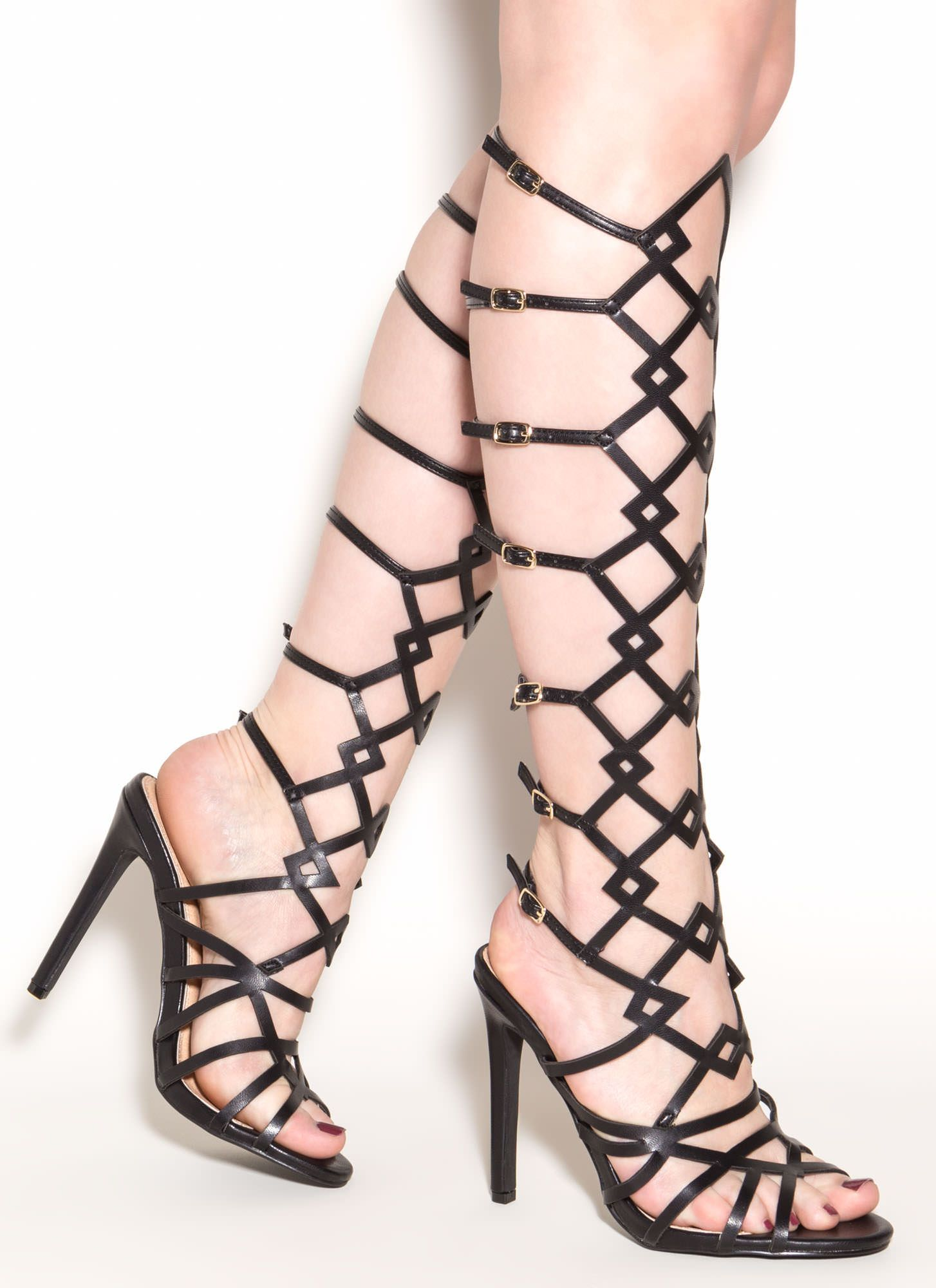 ff5610fb654b You ll be a walking work of art in these one-of-a-kind gladiator heels.   heels  gladiator  blackheels  inspo  buckle  strappy  gojane
