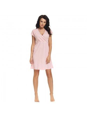 Ночная сорочка хлопковая розовая в горошек 9394 DobraNocka  da7ef3819fe2e