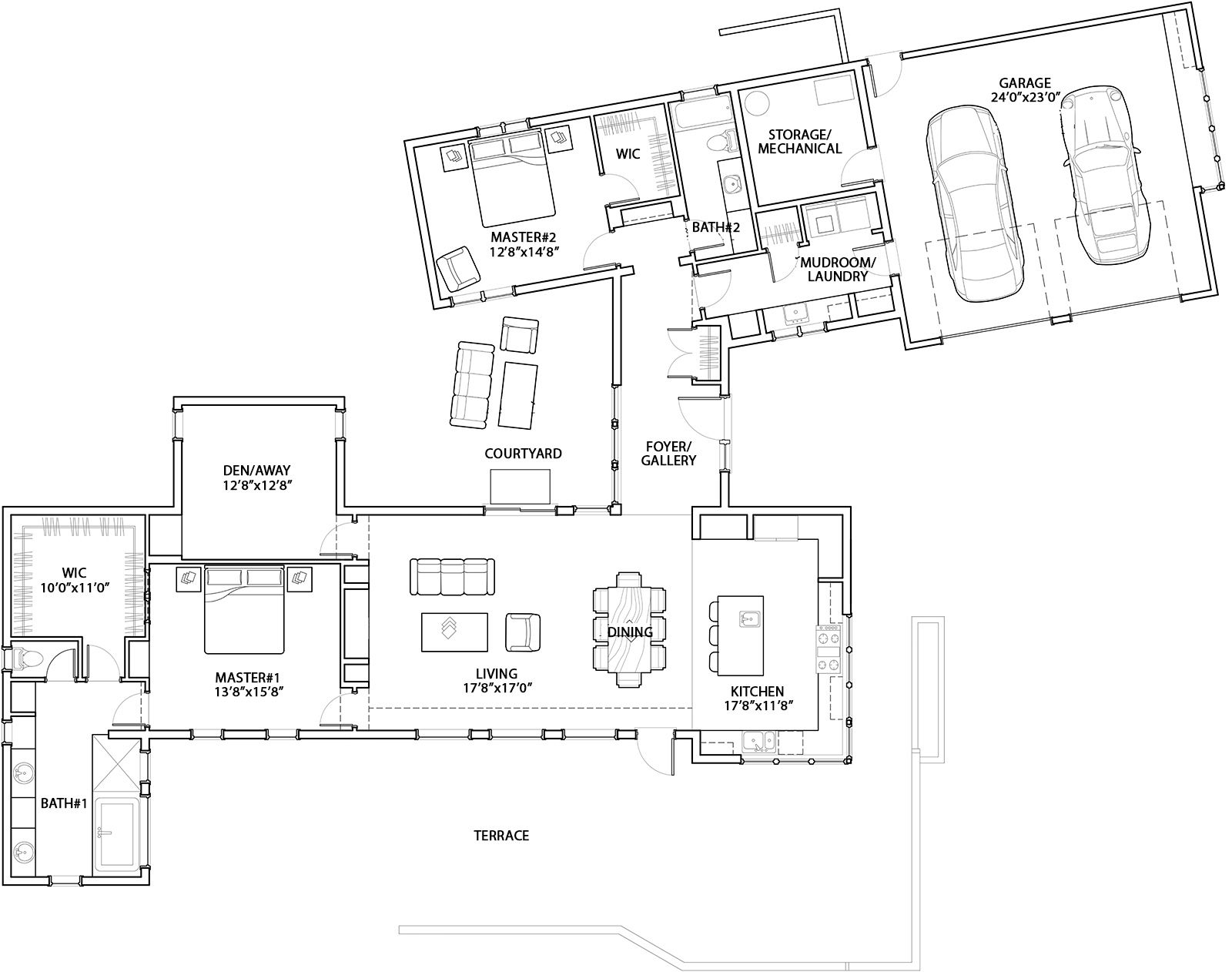 House Plan 5829 00011 Modern Plan 2 331 Square Feet 2 Bedrooms 2 Bathrooms Modern Contemporary House Plans Modern Style House Plans Contemporary House Plans