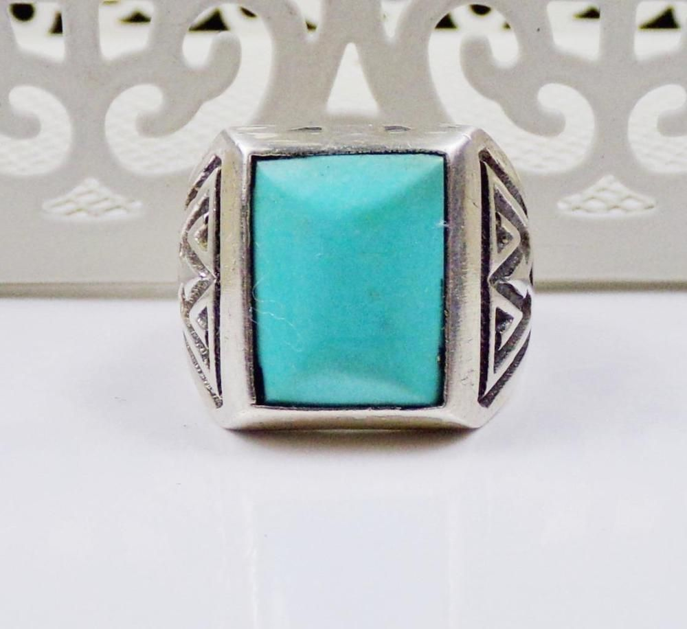 Old Bell Sterling Silver Turquoise Ring MENS Unisex Vintage