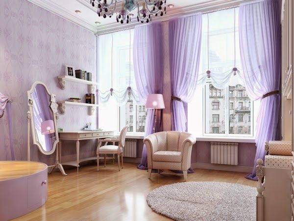 Pale Purple Bedroom Curtains And Wall Painting Colors Purple