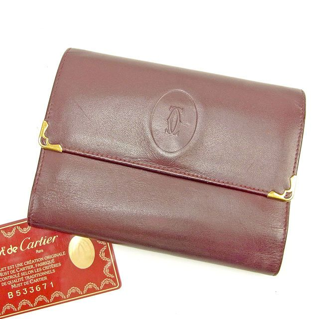 9d8c850e8842 Cartier Wallet Purse Trifold Mastline Red Gold Woman unisex Authentic Used  T183