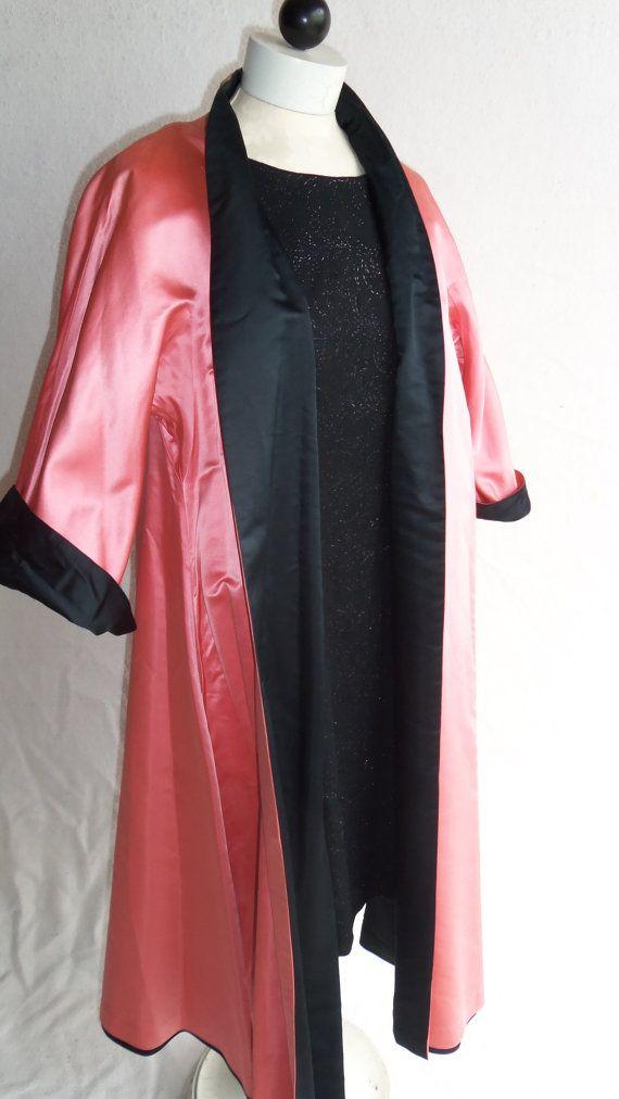 Vintage '50s Satin Swingcoat Reversible Black by daisylacevintage, $45.00