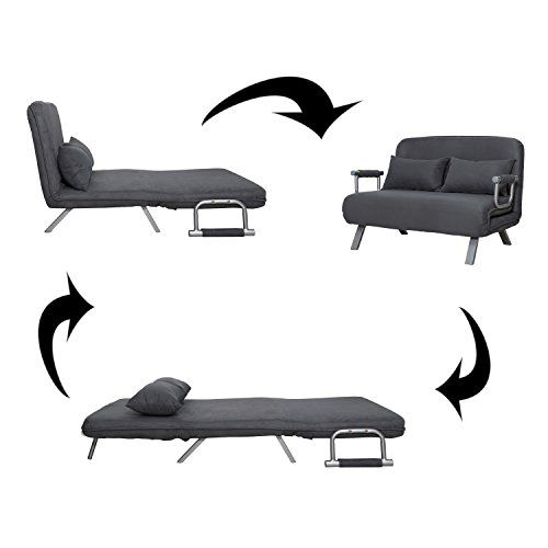 Homcom Suede Fabric Lounge Futon Sofa Chair Gray Futon Sofa Sofa Chair Lounge