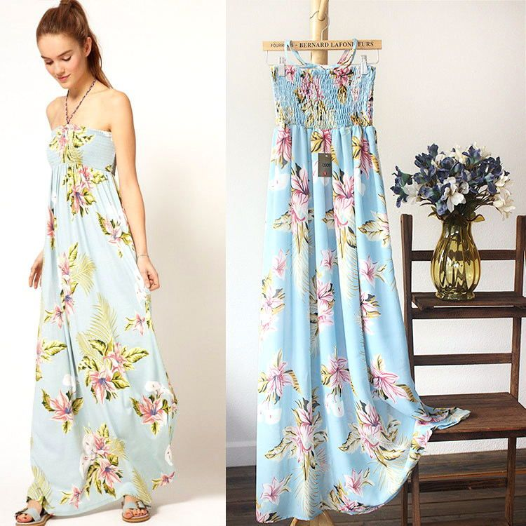 Aliexpress.com : Buy New! 2013 Fashion summer boob tube top printing gallus design lacing chiffon Ankle Length chiffon one piece dress free shipping on Sam's Online Store . $29.42