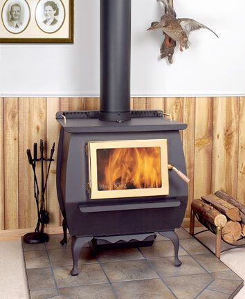 King Parlor Woodburning Stove By Blaze King Shown With Black Legs