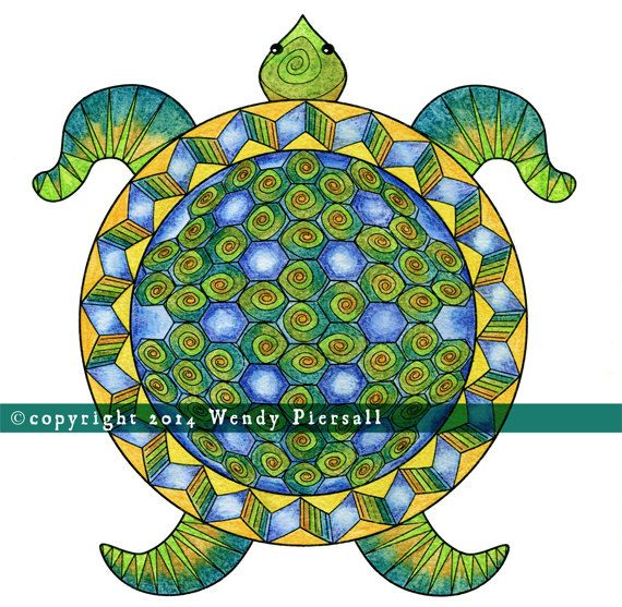 geometric turtle mandala watercolor print by wendy piersall my art watercolor print. Black Bedroom Furniture Sets. Home Design Ideas