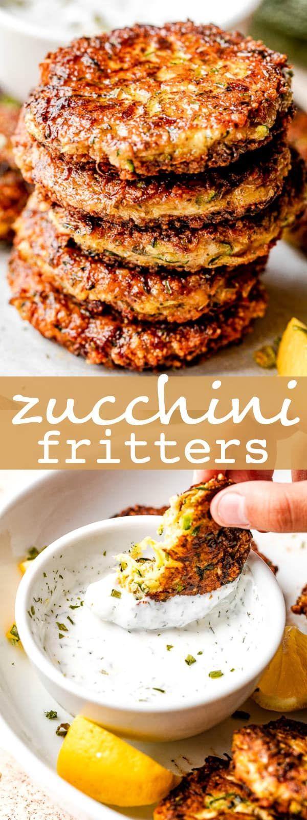 Crispy Zucchini Fritters Fried Zucchini Cakes With Sour Cream Dip In 2020 Fritters Zucchini Fritters Recipes