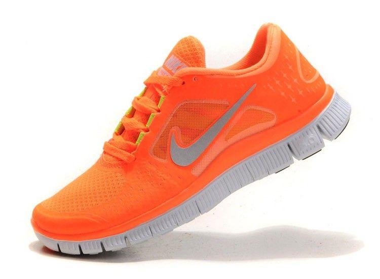 Vente pas cher Femme/Homme Nike Free Run 3 Chaussures Neon Orange Noir  Blanche Soldes