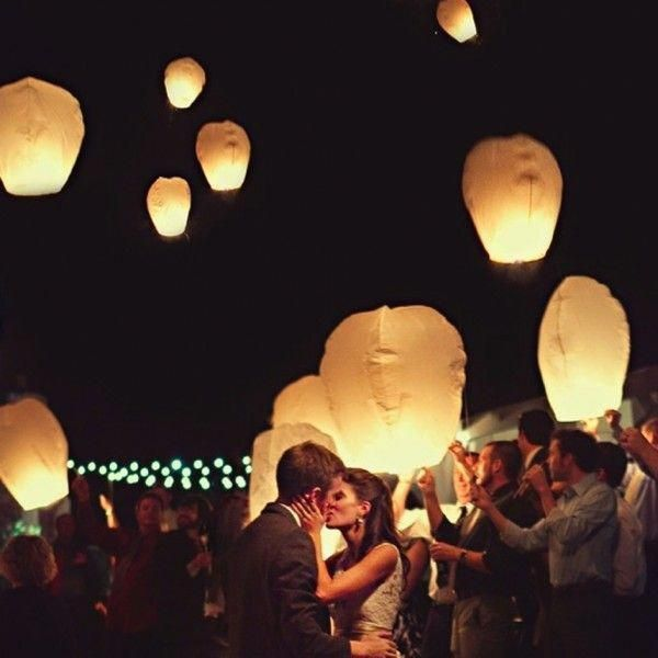 Beach Wedding Ceremony Processional: Sky Lanterns For Wedding Exit #weddingphotography