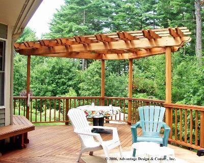 Corner Pergola On Deck Mahogany Corner Pergola In Stow Ma Pergolas Trellises Photo Pergola Corner Pergola Deck With Pergola