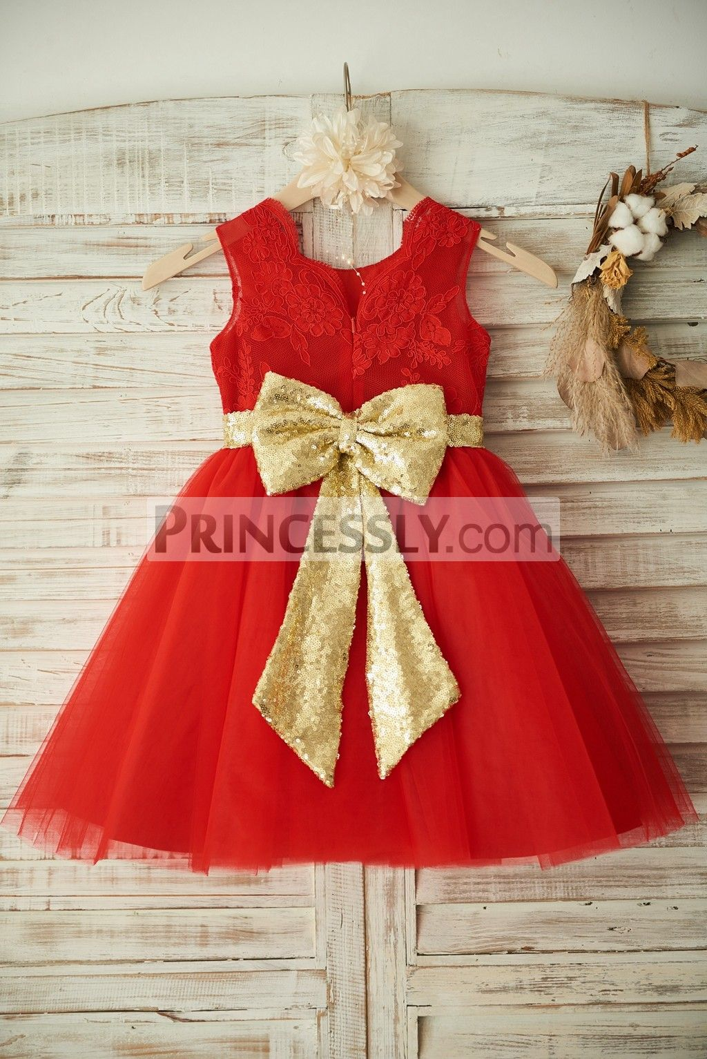 Princessly.com-K1003351-Red Lace Tulle Wedding Flower Girl Dress Christmas  Party Dress with Gold Sequin BeltBow-31 e5aa42d69aa4