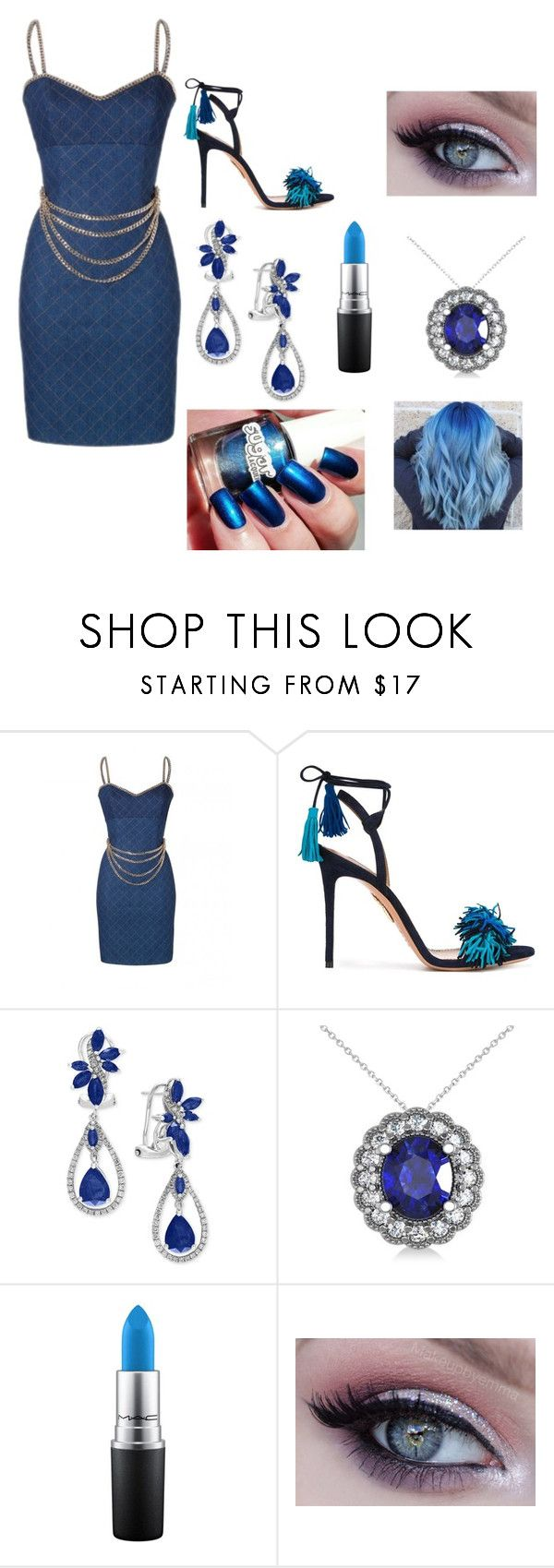 """""""My life forever blue that is my favorite color blue"""" by chassandraward ❤ liked on Polyvore featuring Aquazzura, Effy Jewelry, Allurez and MAC Cosmetics"""