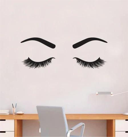 Girl Eyes V17 Wall Decal Sticker Vinyl Home Decor Bedroom Art Make Up Cosmetics Lashes Brows Eyebrows Eyelashes Vanity Beauty
