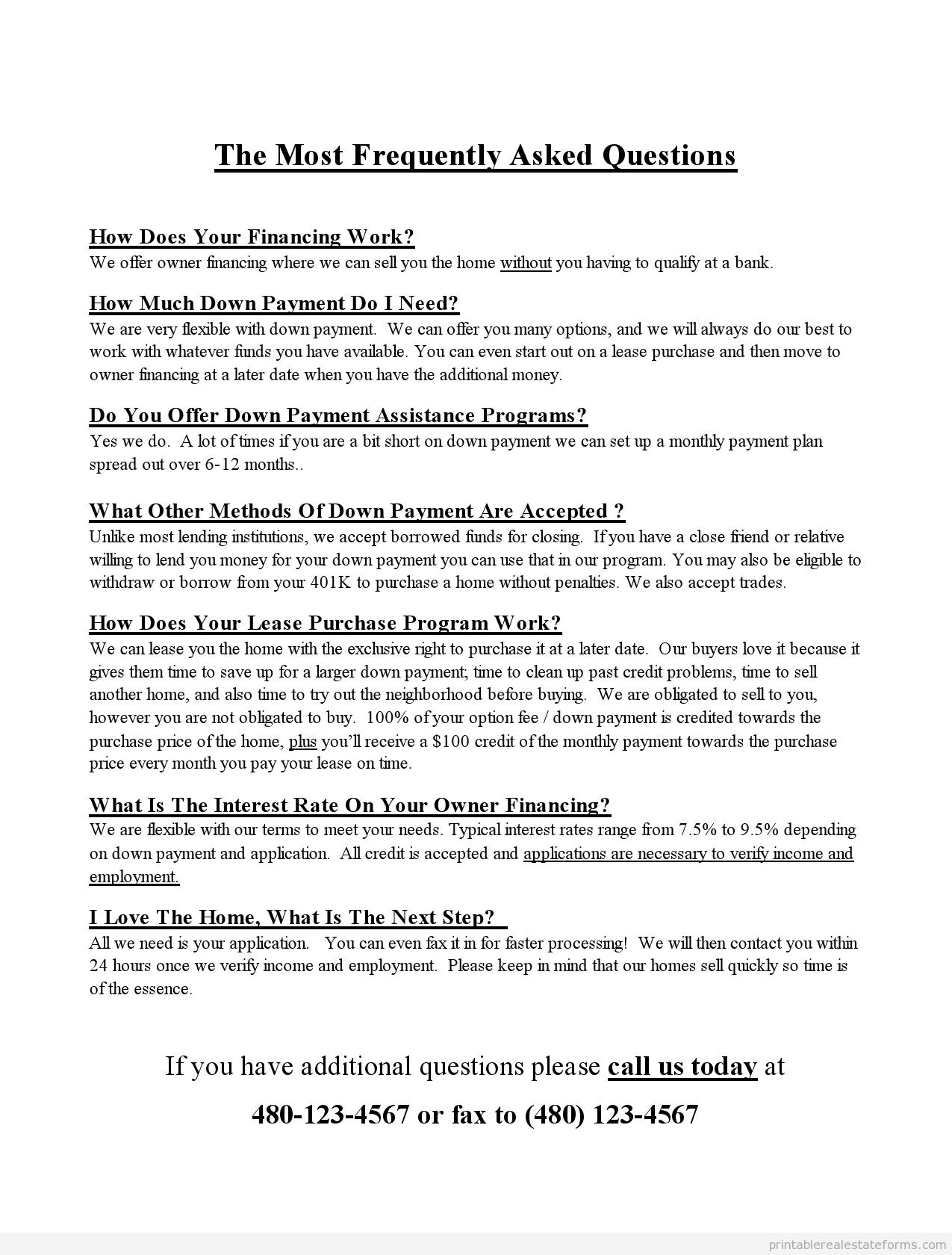 Sample Printable faqs flyer Form | Sample Real Estate Forms ...