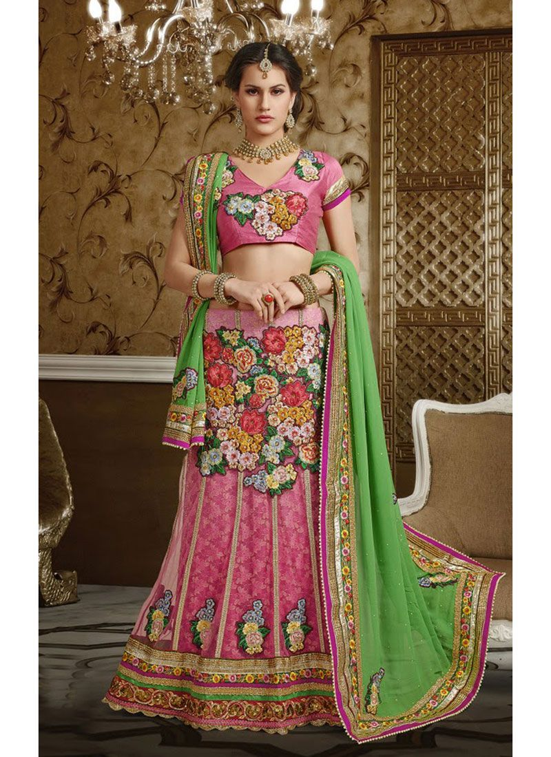 Pink & Green  net , jequard ,  santoon Party Wear Saree