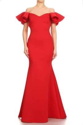 Opción Color Vestido Excelente Rojo De Fiesta Un Para Las Con En Gala Evento Mangas Olanes Una xqqP1wUA