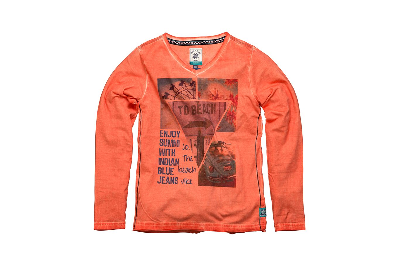 Boys | T-shirt LS Beach | IBB15-3502 | 260 Paprika | Indian Blue Jeans