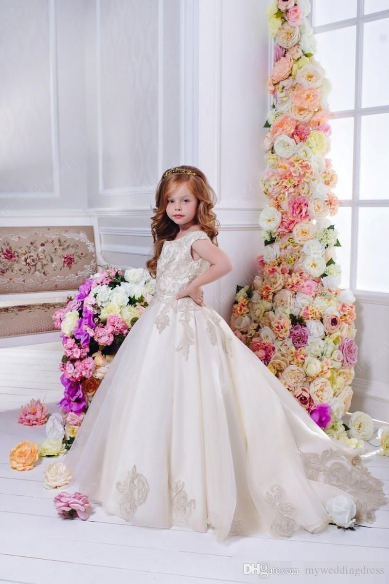 Arabic floral lace flower girl dresses ball gowns child pageant