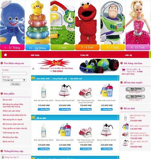 Mẫu website cửa hàng trẻ em online