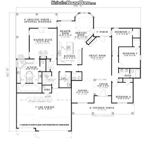 House Plan 026057 Popular Avenue Distinctive House Plans Ranch House Plans House Plans Floor Plans
