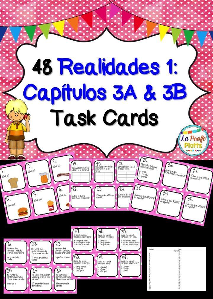 Printable Worksheets realidades 1 worksheets : Spanish Realidades 1: Capítulos 3A & 3B Task Cards | Textbook ...