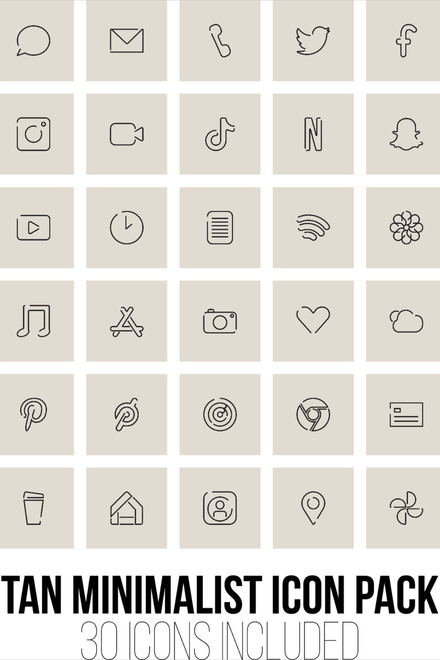 Tan Minimalist Icon Pack