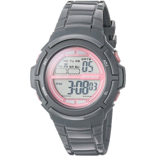 Armitron Sport/7045SGY Pink Accented Digital Grey Sparkled Resin Strap... ($19) ❤ liked on Polyvore featuring jewelry, watches, alarm wrist watch, digital sport watches, grey watches, sporty watches and pink digital watch