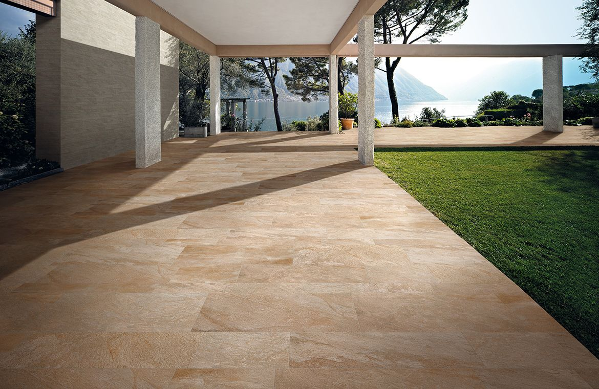Sienna anthology stone gold outdoor 12x24 porcelain tile for Exterior floor tiles